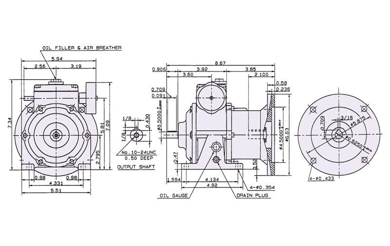 Motor Nema C Flange Input Free Output Type 1 4 H P To 10