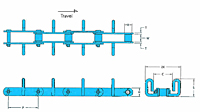 RF Flow Conveyor Chains - U2V Attachment