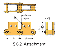 Double Pitch Attachment Chain SK-2